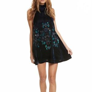 Free People | Velvet Sequin Embroidered Dress